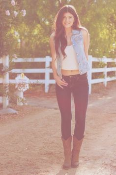 Jean vest with skinny jeans and cowgirl boots
