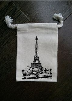 Paris Eiffel Tower French Muslin Party Favor Bag or by foxybox, $2.50