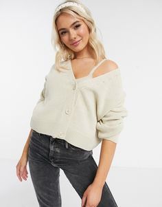 ASOS DESIGN two-piece cardigan in stone Frill Bikini, Bikini Tops, Asos, Under Armour Bra, Embellished Shorts, Oversized Cardigan, New Outfits, Latest Trends, Clothes For Women