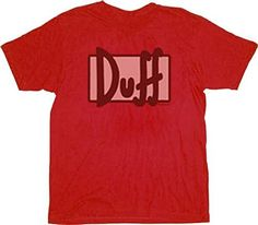 The Simpsons Worn Out Duff Beer Logo Red T-shirt Tee