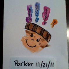 Native American handprint craft for thanksgiving