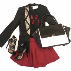 "Bling your way into the weekend! ""beaded jacket"" ($54.99) available at #tria, ""bad girl crop"" ($14.99), ""skater skirt"" ($16.99), ""black & white color block handbag"" ($42) available at #sophieandtrey, ""strapped up heels"" ($28.99) available at #statements and all online at www.sophieandtrey.com! #badgirl #sequin #ootn #love #girl #fashion"