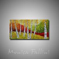 Aspen Birch trees Colorado landscape red by mfallinipaintings