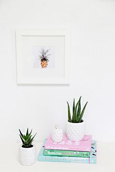 DIY Thrifted Pineapple Planters- turn cheesy pineapples from the thrift store into modern planters
