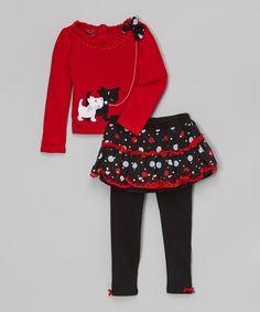 Red Scotties Tunic & Black Skirted Leggings - Toddler & Girls