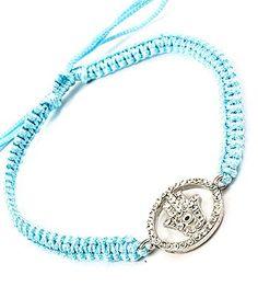 Accessory Accomplice Goldtone Crystal Hamsa Charm Turquoise Adjustable Macrame Bracelet
