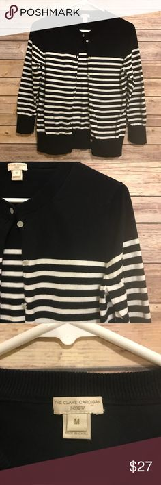 """J.Crew Clare cardigan in drop stripe Great condition! J.Crew Clare cardigan with stripes. Sleeves are 3/4 length. Color is white and dark navy blue. Comes in extra sewn in button. Measures 16"""" armpit to armpit and 21.25 length. J. Crew Sweaters Cardigans"""