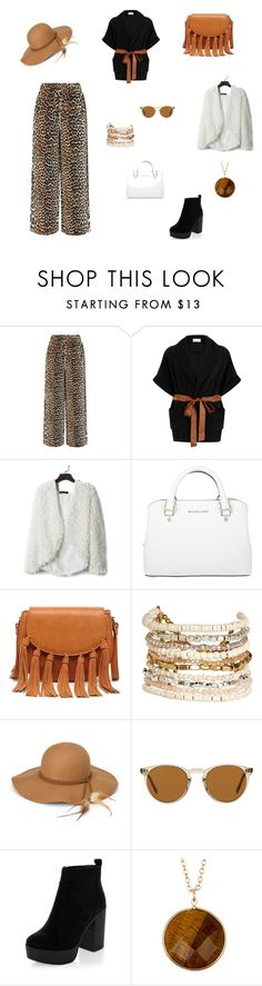 """Palazzo Animal Print en Tipaníe Local 4 Patio Jacarandá"" by tipanie-ximena on Polyvore featuring moda, Ganni, Elvi, Michael Kors, Sole Society, Panacea, Steve Madden, Oliver Peoples, New Look y Stephan & Co."