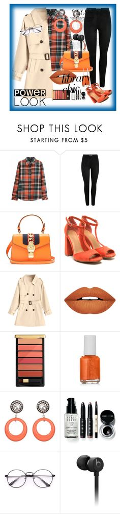 """""""Untitled #273"""" by manusharma-ms ❤ liked on Polyvore featuring Gucci, Forever 21, L'Oréal Paris, Essie, Julie Sion, Bobbi Brown Cosmetics and Beats by Dr. Dre"""