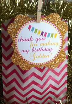 Golden Birthday Favor Tag  #GlitterParty #GoldenParty #Anniversary #BridalShower