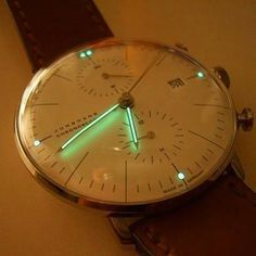 Check the otherworldly lume on this bezel-less #junghans ....️shot by @puristspro