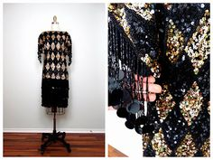 VTG Harlequin Fringe Beaded Sequin Dress / Black and by braxae