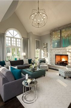 Living Room with Beige Walls and High Ceilings.