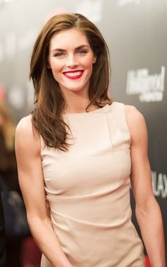 Hilary #Rhoda- the hair, demure nude dress and bold red lipstick