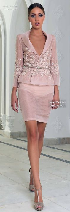 Abed Mahfouz Fall 2014-15 Couture color and detail for work party but not transparency