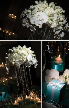 wow centerpiece with elegant dose of bling for tiffany blue fans
