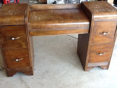 Repurposed Desk into Night Stands--I'm not picky about the nightstands, I'm sure a coat of paint or something would turn them into something nice...but they do have to have drawers!