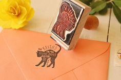 Cat Return Address Stamp  Custom Feline Rubber by PaperPeachShop