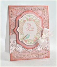 JustRite Card designed by Debbie Olson using Spring Rose Medallions, Classic Lace Edges Two and Fleuriste Newsprint Background Stamp