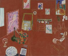 """Henri Matisse Vintage 1973 Authentic Fauvism Lithograph Print """" the Red Studio L' Atelier Panneau Rouge """" 1911 Henri Matisse, Matisse Art, Raoul Dufy, Matisse Pinturas, Matisse Paintings, Top Paintings, Red Studio, Studio Art, Art Ancien"""