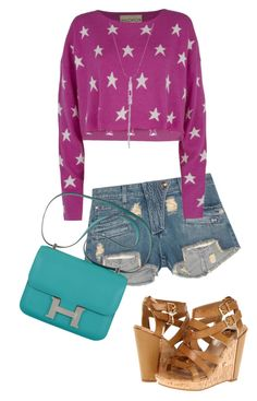 """216. Casual Spring Outfit. Purple and White Star Print Sweater, Balmain cutoffs, teal Hermes bag, and sandals"" by kohlanndesigns ❤ liked on Polyvore"