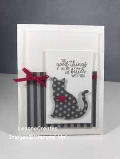 CASEd from Mary Fish, Stampin' Pretty! I used the cat punch instead, different sentiment & DSP. Valentine Greeting Cards, Greeting Cards Handmade, Pet Sympathy Cards, Dog Cards, Animal Cards, Cards For Friends, Handmade Birthday Cards, Card Tags, Anniversary Cards