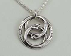 """Double Ouroboros Pendant Necklace - Sterling Silver - 20"""" Wheat Chain"""