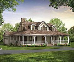 Farmhouse with Wrap-Around Porch.  Now that's a porch but think it's 2 story which we are trying to avoid.