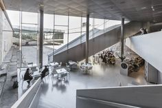 Completed in 2013 in Helsingor, Denmark. Images by Thijs Wolzak, Luca Santiago Mora, Rasmus Hjortshõj. The Danish Maritime Museum had to find its place in a unique historic and spatial context; between one of Denmark's most important and famous. Helsingor, Norman Foster, Zaha Hadid, Contemporary Architecture, Interior Architecture, Bjarke Ingels Architecture, Big Architects, Museum Cafe, World Architecture Festival