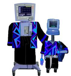 """Avea Ventilator & Artie Aortano (notice how similar the two machines' monitor screen """"faces"""" are, compared side by side)"""