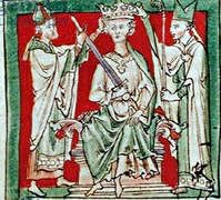 A medieval picture of King Stephen being crowned Grand-son of William Conquer,..1135