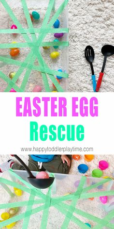 Easter Egg Rescue Sensory Bin - HAPPY TODDLER PLAYTIME Here is a fun Easter egg sensory bin activity that makes a perfect indoor activity for toddlers and preschoolers this Easter! Indoor Activities For Toddlers, Toddler Learning Activities, Spring Activities, Sensory Activities, Infant Activities, Kids Learning, Easter Activities For Preschool, Preschool Science, Science Classroom