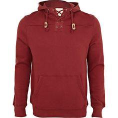 roja de encaje de cuello con capucha - Sudaderas - venta - hombres - River Island