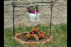 Fire pit flower garden