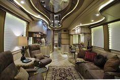 Camper trailers are costly, but sometimes a used horse trailer isn't. Lightweight travel trailers have come to be the most pursued trailers for everyo. Travel Trailer Interior, Motorhome Interior, Rv Interior, Interior Design, Luxury Rv, Luxury Travel, Luxury Motorhomes, Rv Motorhomes, Lightweight Travel Trailers