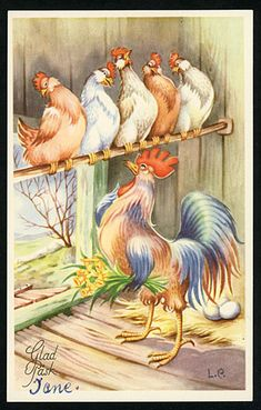 Chicken Lady, Paint Cards, Easter Art, Christmas Cards To Make, Vintage Easter, Sweden, Projects To Try, Bunny, Illustration