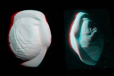 Pan Anaglyph (3-D). Check out Saturn's tortellini-shaped moon, Pan, in 3-D when viewed here through red-blue glasses. These stereo views, or anaglyphs, highlight Pan's unusual and quirky shape.