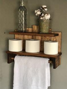 ◅ 1 2 3 4 5 ▻ Bathroom storage, Rustic towel holder, Storage for bathroom, Bath towel storage, Toilet paper storage, Rustic decor, Farmhouse decor,