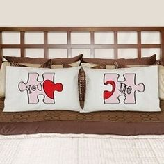You know you were made for one another and now can proudly display your love with this romantic You and Me Puzzle Pillowcase Set.