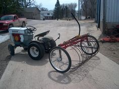 Hi, well since spring refuses to come here in MN I decided to build a dump rake. I researched the old Sears Roper rake and was going to build one like that. Small Barn Home, Small Barns, Tractor Accessories, Small Tractors, Yard Maintenance, Tractor Implements, Tractor Attachments, Riding Mower, Ford Tractors