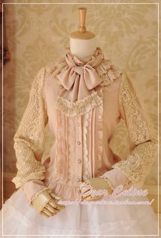 Dear Celine Antique Lace Bow Collar long-sleeved Blouse Pink