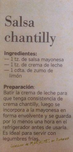 Recetas de cocina. Salsa chantilly | https://lomejordelaweb.es/