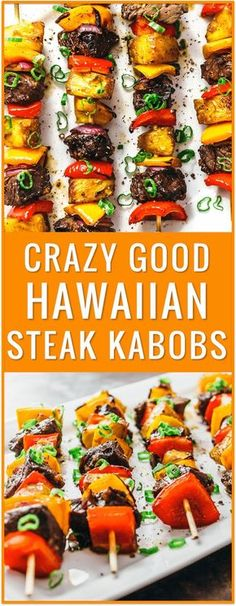 Crazy good Hawaiian steak kabobs, Hawaiian steak marinade, easy, recipe, grilling, broiling, baking, beef kabobs on the grill, beef kabob marinade, baked kabobs, ground beef kabobs, beef kabobs in the oven, broiled kabobs, with rice, marinated, sides, greek, teriyaki, healthy, shrimp via /savory_tooth/. Sponsored.