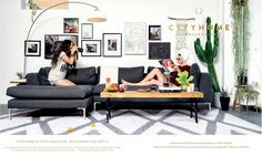 cityhomeCOLLECTIVE, FIND YOUR SPACE, art wall, gray sectional, white and gray rug, plants, arc lamp, modern home