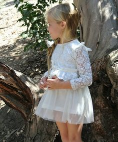 Love this Cream Lace Ruffle Dress - Toddler & Girls by Pretty Cute on #zulily! #zulilyfinds