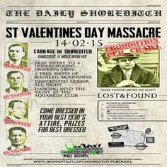 St Valentines Day Massacre Prohibition Pub Crawl at Translate Bar, 12-14 Kingsland Road, Hoxton, London, E2 8DA, UK on Feb 14,2015 to Feb 15,2015 at 7:30 pm to 7:00 am.  We will take you to 4 underground drinking dens to get your fix of free moonshine, all the while keeping our eyes peeled for those pesky coppers.  URLs:  Tickets: http://atnd.it/20335-0 Twitter: http://atnd.it/20335-2  Category: Nightlife,  Prices: Early Bird £11.50, Not So Early Bird £17.50, Standard £25