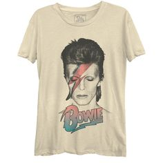 David Bowie Pastel Women's Casual Tee found on Polyvore featuring polyvore, women's fashion, clothing, tops, t-shirts, david bowie t shirt, brown top, david bowie tee, brown t shirt and brown tee