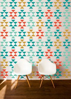 Triangle Wall Decals from @DanaDecals - this design is so on-trend  and would make a fab accent wall!
