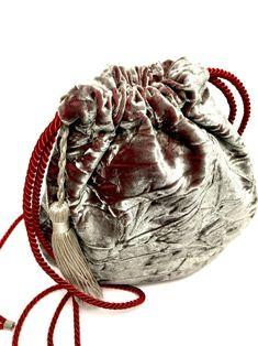Silver velvet bag unique purse upcycled bag bucket bag | Etsy