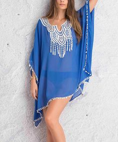Loving this Blue & White Crochet-Accent Cover-Up on #zulily! #zulilyfinds